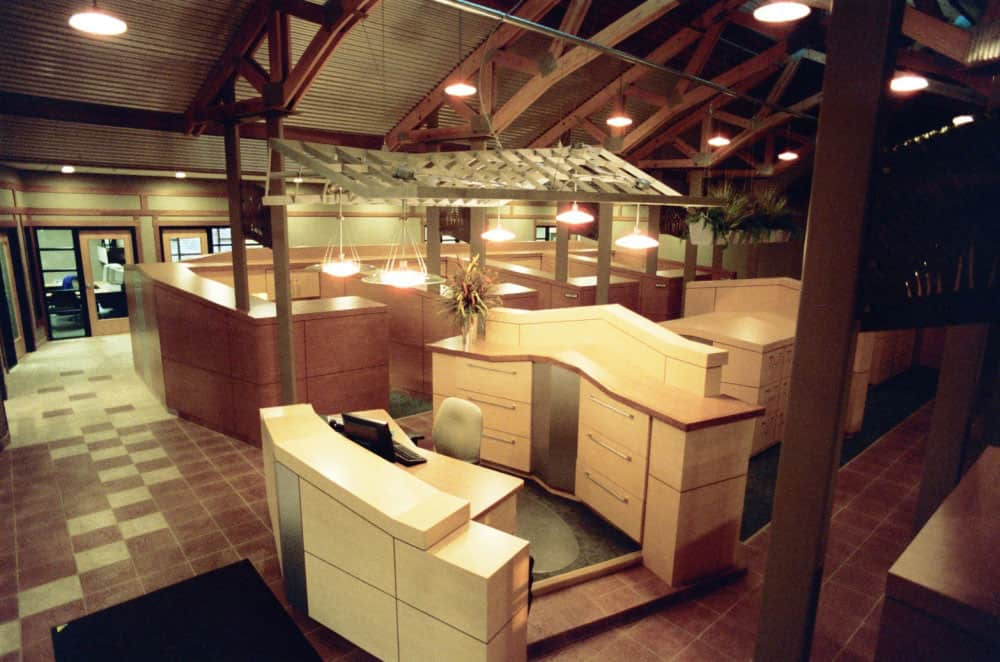 truss building interior front desk